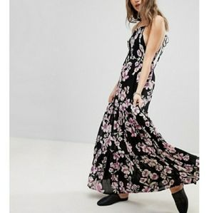 FREE PEOPLE Garden Party Floral Boho Maxi Dress L
